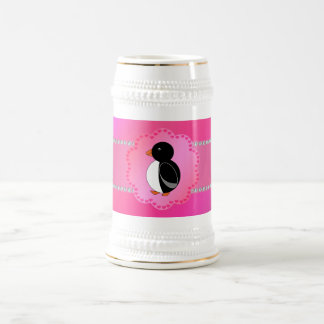 Fancy penguin pink beer stein