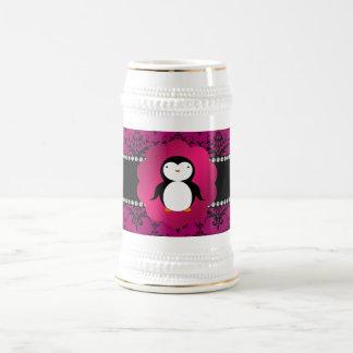 Fancy penguin pink damask beer stein