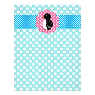 Fancy penguin turquoise polka dots full color flyer