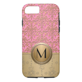 Fancy Pink and Gold Monogram Damask Pattern iPhone 7 Case