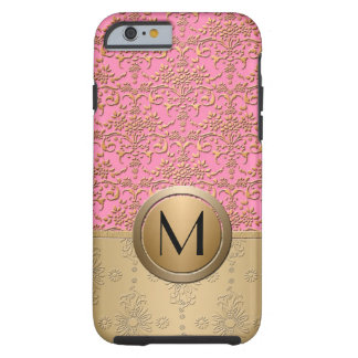 Fancy Pink and Gold Monogram Damask Pattern Tough iPhone 6 Case