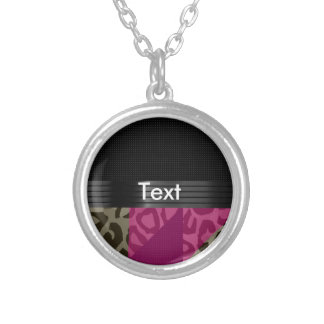 Fancy Pink Black Cheetah Round Pendant Necklace