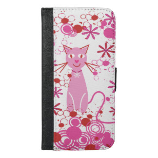Fancy Pink Cat iPhone 6/6s Plus Wallet Case