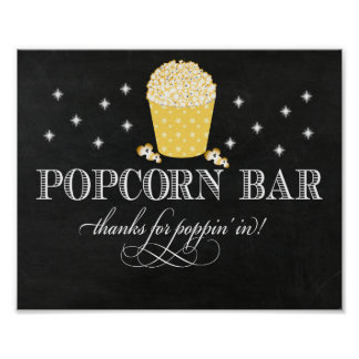 Fancy Popcorn Bar Sign - Thanks for Poppin In