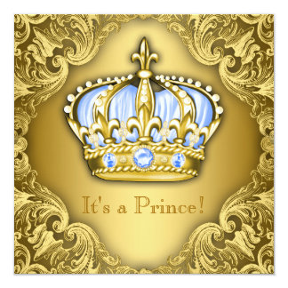 Fancy Prince Baby Shower Baby Blue Gold 13 Cm X 13 Cm Square Invitation Card