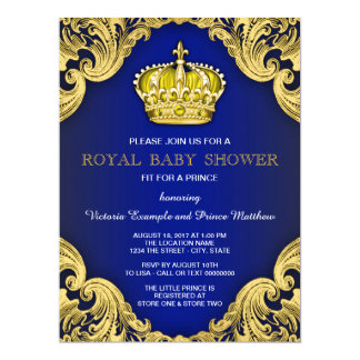 Fancy Prince Baby Shower Blue and Gold 17 Cm X 22 Cm Invitation Card
