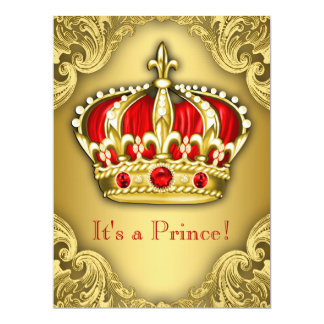 Fancy Prince Baby Shower Red and Gold 17 Cm X 22 Cm Invitation Card