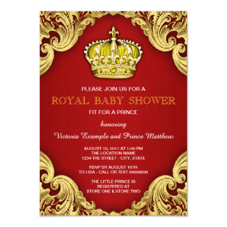 Fancy Prince Baby Shower Red and Gold Card