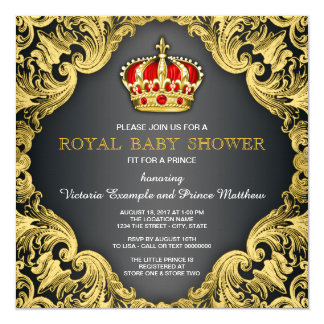 Fancy Prince Baby Shower Regal Red Card