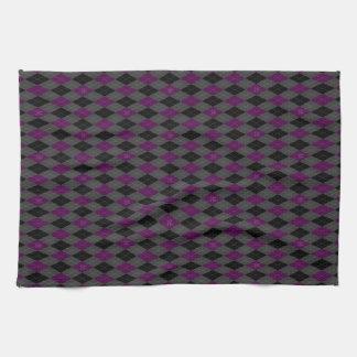 Fancy Purple Argyle Tea Towel