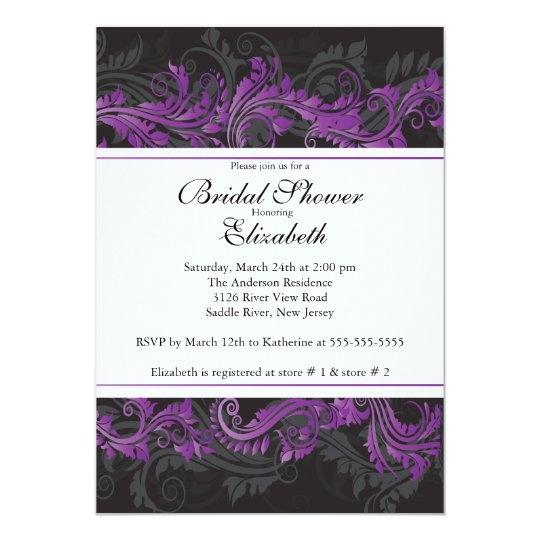 Fancy Purple Black Damask Bridal Shower Invitation