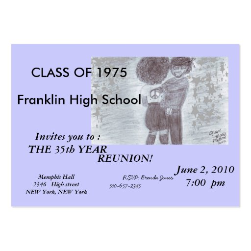 Fancy purple Class Reunion Card Business Cards