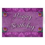 Fancy Purple Damask Happy Birthday Card Flowers