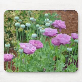 Fancy purple poppy flowers mousepad