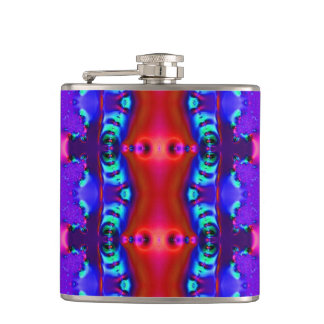 Fancy Purple Red Fractal Hip Flask