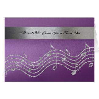 Fancy Purple Silver Metallic Music Photo Card