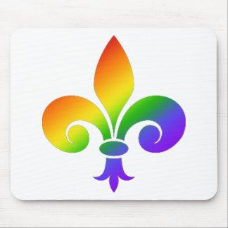 Fancy Rainbow Fleur de Lis Mouse Pad