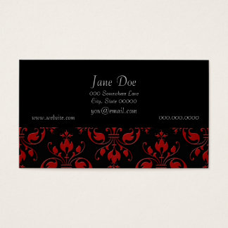 Fancy Red and Black Damask Business Card