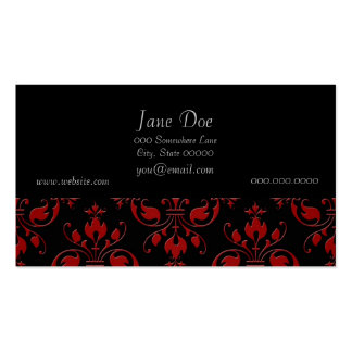 Fancy Red and Black Damask Pack Of Standard Business Cards