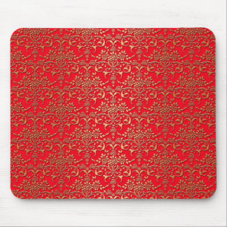 Fancy Red and Gold Damask Pattern Mouse Pad