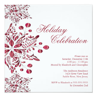 Fancy Red Jewel Snowflakes Holiday Party Card