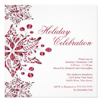 Fancy Red Jewel Snowflakes Holiday Party Personalized Invites