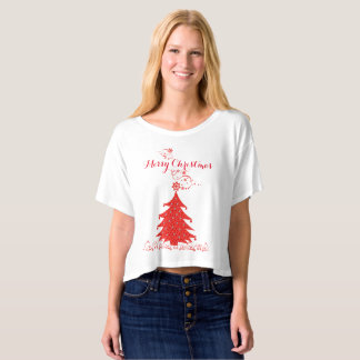 Fancy Red Lace Merry Christmas Tree T-Shirt