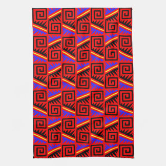 Fancy Red Mexican Pattern Towels