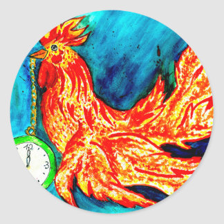 Fancy Rooster Art 2 Classic Round Sticker