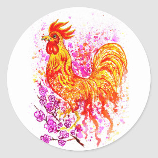 Fancy Rooster Art 3 Classic Round Sticker