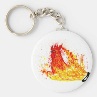 Fancy Rooster Art 4 Basic Round Button Key Ring