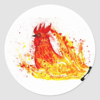 Fancy Rooster Art 4 Classic Round Sticker