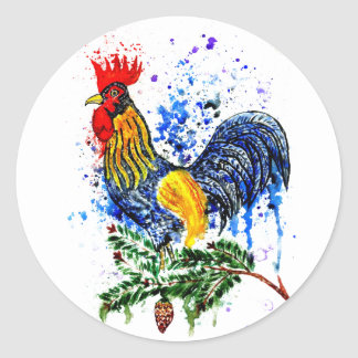 Fancy Rooster Art 5 Classic Round Sticker