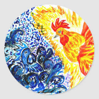 Fancy Rooster Art Classic Round Sticker