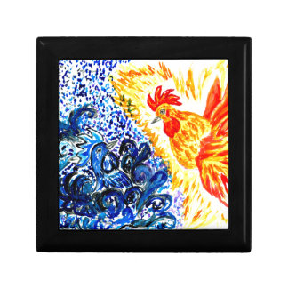 Fancy Rooster Art Small Square Gift Box