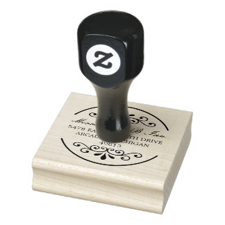Fancy Round Return Address Rubber Stamp