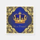 Fancy Royal Blue Gold Prince Baby Shower Disposable Serviette