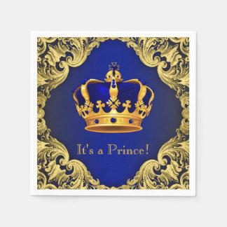 Fancy Royal Blue Gold Prince Baby Shower Disposable Serviettes