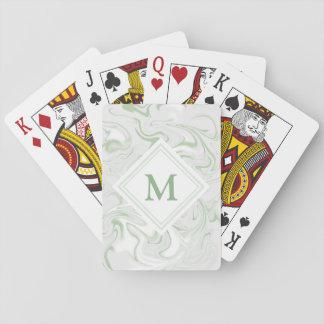 Fancy Sage Green Marble Look Diamond Monogram Playing Cards