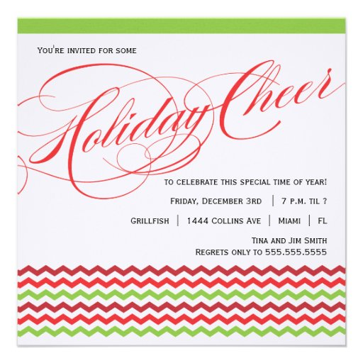 Fancy Script and Chevron Holiday Party Invitation
