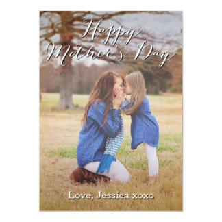 Fancy Script Happy Mother's Day Photo Card 13 Cm X 18 Cm Invitation Card