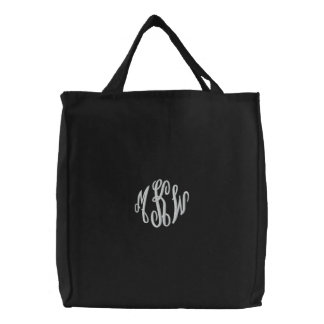 Fancy scripts embroidered monogram wedding tote canvas bags
