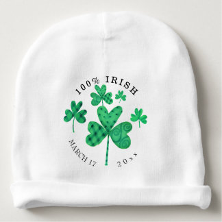Fancy Shamrocks Add Date Baby Beanie