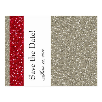Fancy Silver and Red Save the Date Postcard