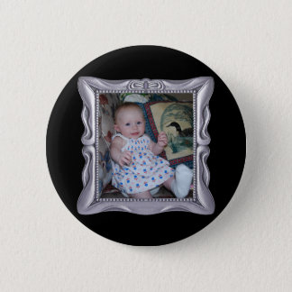Fancy Silver Frame Add Photo Here 6 Cm Round Badge