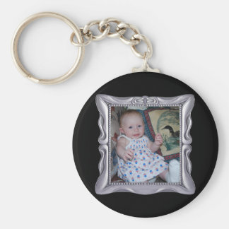 Fancy Silver Frame Add Photo Here Basic Round Button Key Ring