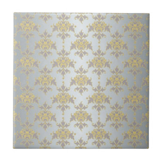 Fancy Silver White and Yellow Damask Ceramic Tile