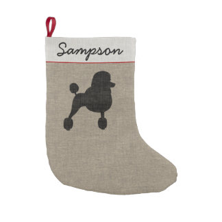 Fancy Standard Poodle Silhouette with Custom Text Small Christmas Stocking