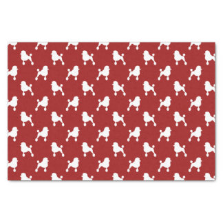 Fancy Standard Poodle Silhouettes Pattern Red Tissue Paper