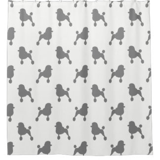 Fancy Standard Poodle Silhouettes Pattern Shower Curtain